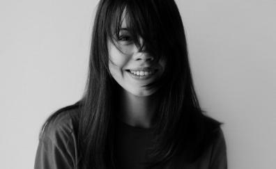 Smile monochrome girl model