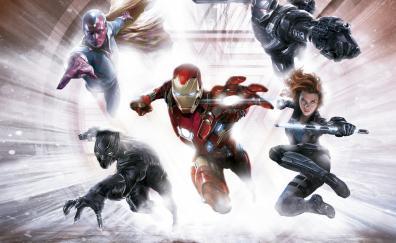 Capitan america civil war team iron man artwork 5k