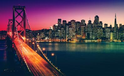 San Francisco, city, buildings, bridge, night