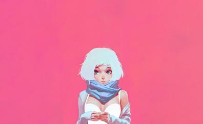 White hair, urban girl, art, minimal