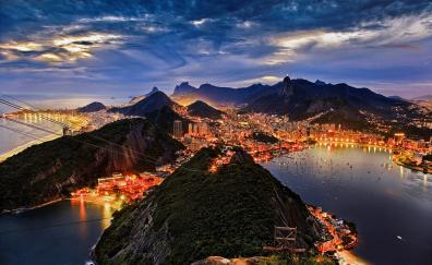 Rio de janeiro night city mountains aerial view