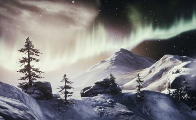 Northern Lights, Brothers: A Tale of Two Sons, landscape
