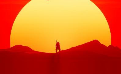 Sun, warrior, sunset, silhouette, Assassin's creed