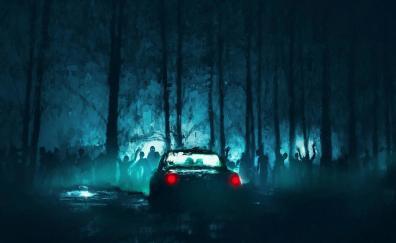 Zombies car night art