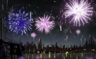 Digital art city fireworks