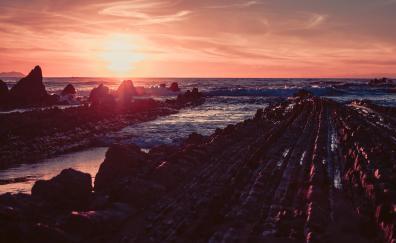 Sunset spain coast sea skyline