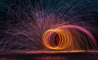 Fire juggling, night, fireworks, dark
