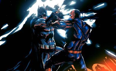 Deathstroke and batman, battle, dark, art