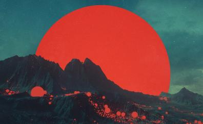 Planet mountains moon red
