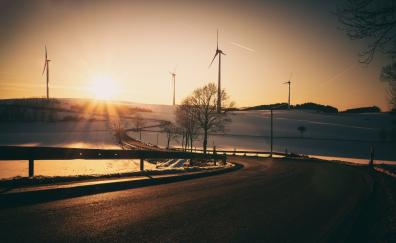 Sunrise windmills road landscape