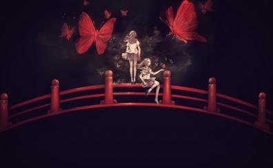 Bridge, anime girls, minimal, butterfly