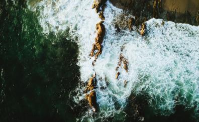 Coast sea waves aerial view