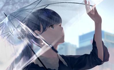 Rain beautiful anime girl original