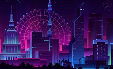Cityscape, buildings, Ferris wheel