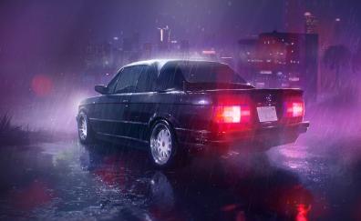 Rain neon lights car art