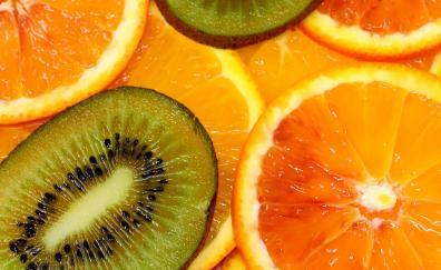 Orange kiwifruit slices close up