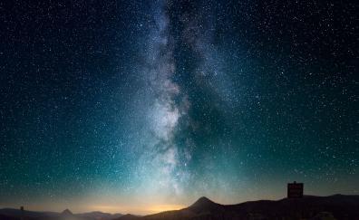 Starry sky, night, road, milky way