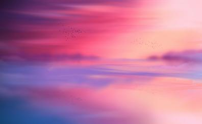 Sunset nature horizon reflection 4k