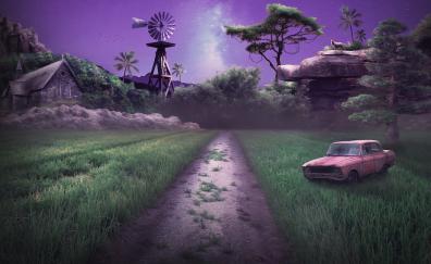 Dead end, road, landscape, fantasy, artwork