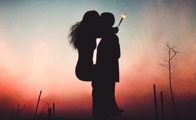 Couple lovers kiss sunset hd