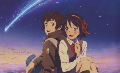 Cute couple, Mitsuha Miyamizu, Taki Tachibana, Kimi no Na wa.
