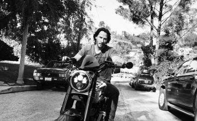 Keanu reeves on bike monochrome