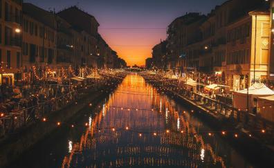 Milan city river light 4k