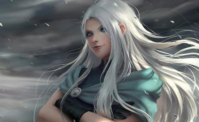 Fantasy woman white hair art