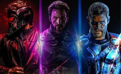 Avengers: infinity war, star-lord, captain America, thor