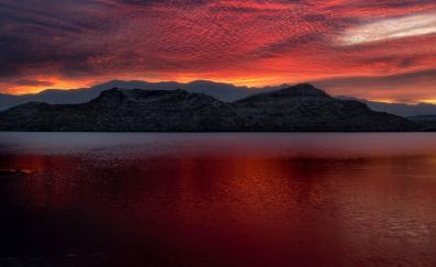 Mead usa lake mountains sunset 5k