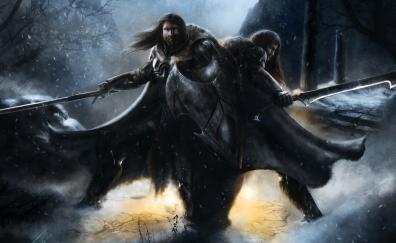 Two warriors, artwork, fantasy