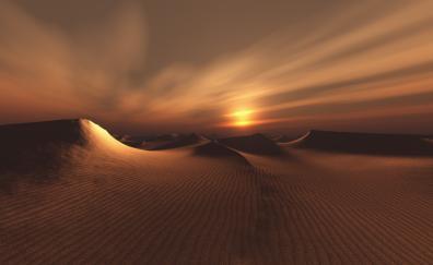 Sand, Desert, sunset, dunes, sunset, sky