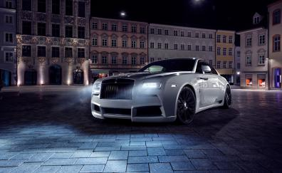 Rolls royce wraith 2017 white car front view4k