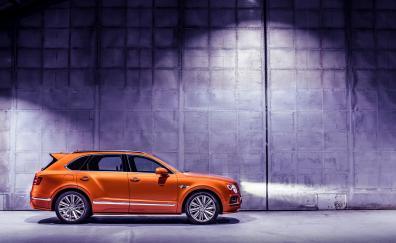 Orange, luxury SUV, Bentley Bentayga, 2019