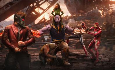 Thanos vs avengers artwork