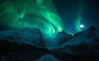 Road, mountains, Aurora Borealis, nature