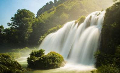 Waterfall river summer 4k