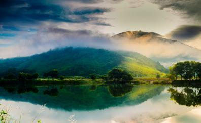 Natural scenery lake mountains