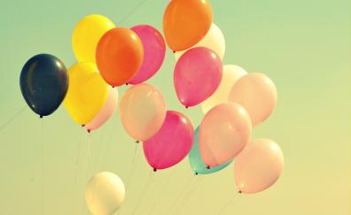 Colorful, balloons, flight