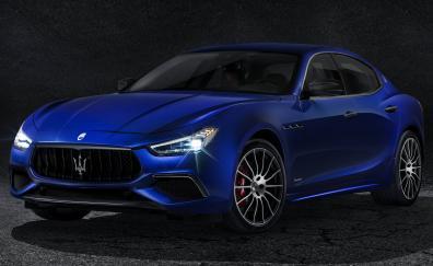 Maserati ghibli gransport car blue front