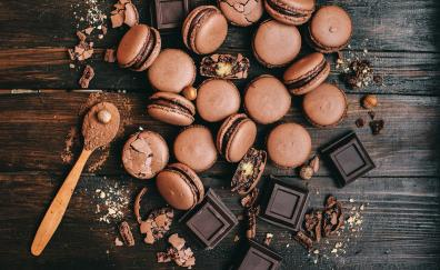 Macaron, brown, chocolate, food, dessert