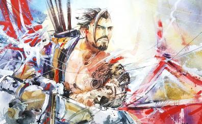 Hanzo, overwatch, online game, archer, art