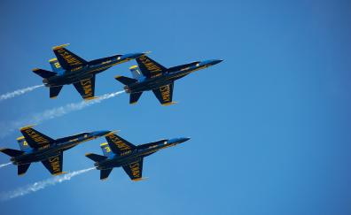 Blue angels us navy blue sky aircrafts 4k