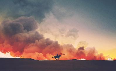 Game of thrones tv show art fire and smoke