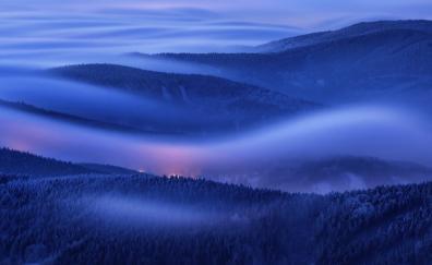 Mountains foggy morning huawei mate 10 stock