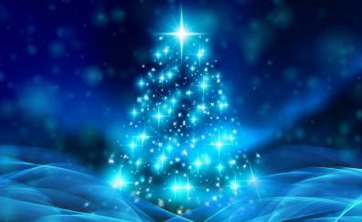 Christmas tree, bokeh, abstraction