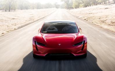 Tesla roadster 2020 red car 4k