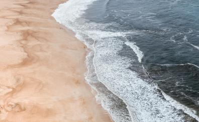 Sea waves beach aerial view