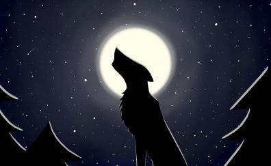 Wolf, moon, minimal, starry night, digital art