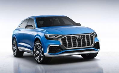 Audi Q8, blue, compact SUV